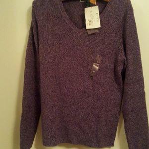 Karen Scott purple cotton spring sweater